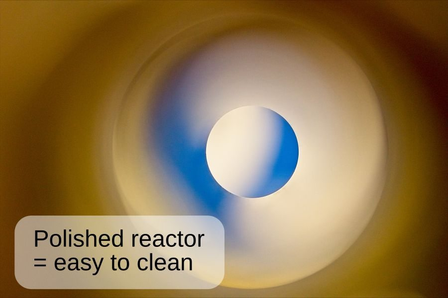 A view through the polished flow reactor